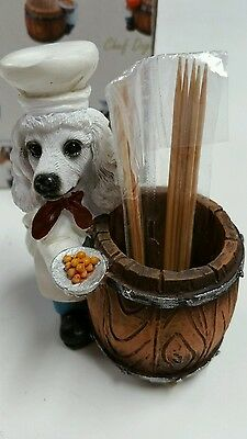 White POODLE  Chef Dog Toothpick / Ring Holder  statue