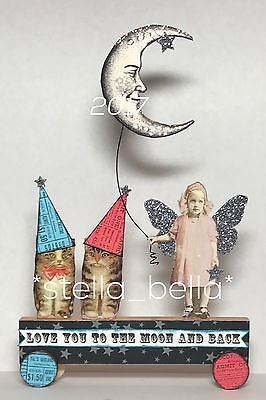 Love You To The Moon Fairy Altered Art vtg Ooak Collage Handcrafted Mixed Media