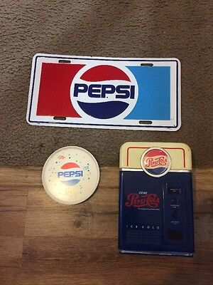 3 PEPSI COLA Collectibles License Plate, Bank and plastic Dish