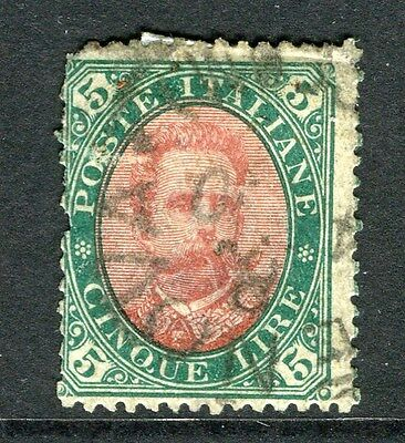 ITALY;  1889 early classic Umberto issue Scarce used 5L. value