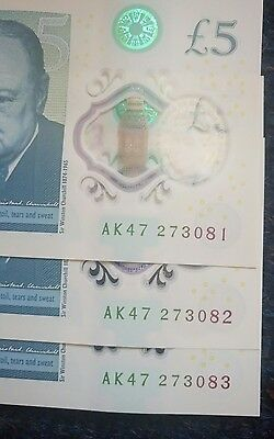 3x Mint AK47 £5 Five Pound, Consecutive, Sequential, Rare Uncircululated PLASTIC