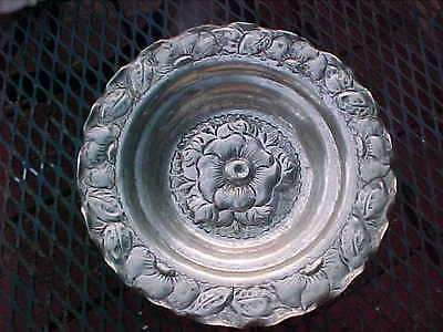 """Vintage Repoussee Floral Leaf Claw Footed  Silver Plated  Bowl Unmarked     8"""""""