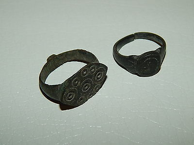 Ancient beautiful medieval bronze rings.