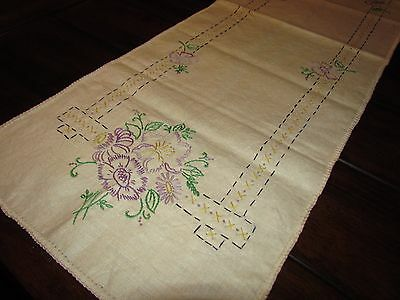 Vtg Antique Linen Embroidery Cross Stitch Table Runner Scarf Art Deco Floral 39""