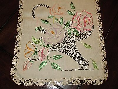 Vtg Antique Linen Embroidery Cross Stitch Table Runner Scarf Floral Lace Crochet