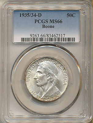1935/34-D Boone Commemorative 50C Ms66 Pcgs