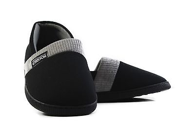 Mens Slippers Grosby Hoodies Black Grey Knitted Slipper House Shoe Size S M L XL