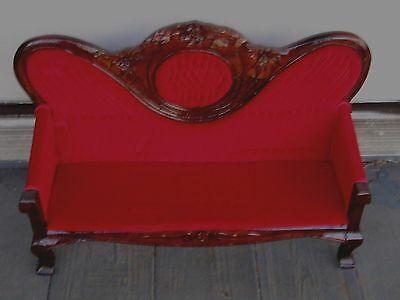 "Huge Antique Victorian Mahogany Wood Velvet Settee Fits 16"" Antique Doll"