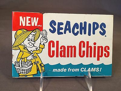 "Vintage Enamel Metal Clam Chips Not Oysters ""seachips"" Advertising Store Sign"