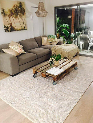 New Modern Rustic Charm Jute Handwoven Natural White Floor Rug  - Free Postage!