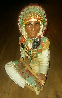 Vintage Universal Statuary Native American Indian Chief with Peace Pipe Statue