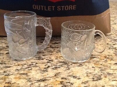Set of 2 1995 McDonald's Batman Forever Batman & Riddler Glass Cup Mug France !