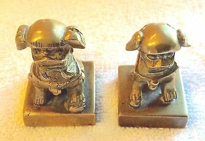 Pair of Vintage Chinese Foo Dog Chop Seals ~ Solid Brass Antique