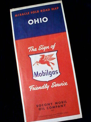 Ohio Mobilgas Vintage 1950 Road Map Socony Mobil Oil Co.