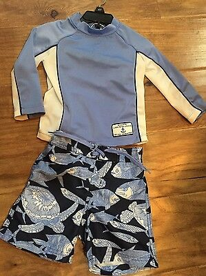 VGUC Janie and Jack Cabanna Prep 12 18 months swimming trunks rash guard