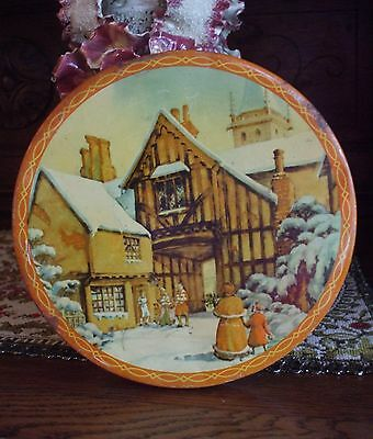 Vintage Christmas Tin Victorian People Snowy London City Rare Orange Color