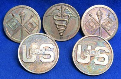 WWI Army Medical and Signal Corps Enlisted Discs Lot Of 5 - NEVER FINISHED