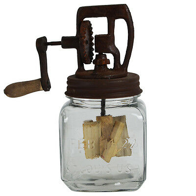 Rustic Antique Style Dazey Glass Hand Crank 1 Quart Butter Churn Primitive Decor