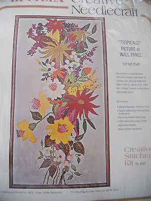 """VINTAGE BUCILLA #8394 TROPICALLI CREWEL EMB. PICTURE/WALL PANEL KIT 22"""" by 38"""""""
