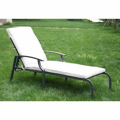 Outdoor Sun Lounger Bed Adjustable Recliner Chair Garden Pool Furniture Cushion