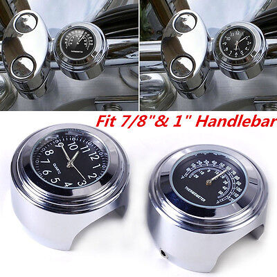 """7/8"""" 1"""" Motorcycle Accessory Handlebar Mount Clock Watch & Thermometer For Honda"""