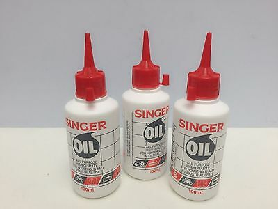 3 x SINGER OIL ALL PURPOSE BOTTLE 100ML - Sewing Machine Lubricant
