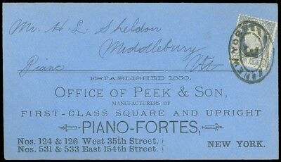 1870's NY, Office of PEEK & SON, SQUARE UPRIGHT PIANO FORTES, Advert Cover, #182
