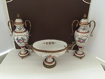 Stunning Set of Antique Sevres - Centerpiece Bowl & Matching Urns
