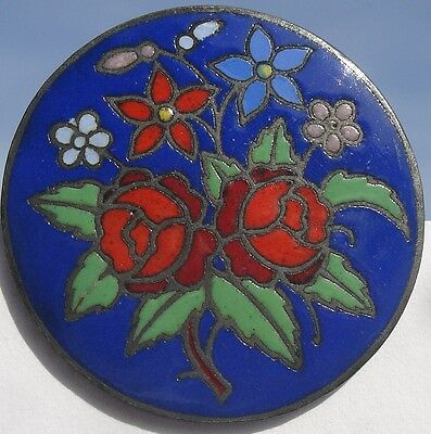 """1940s ANTIQUE FRENCH CHAMPLEVE BLUE ENAMEL~1 1/4""""~PAINTED FLOWERS VINTAGE BUTTON"""