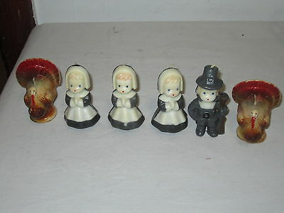 * Vintage Lot Of 6 Gurley Thanksgiving Theme Candles *