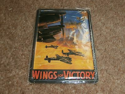 Wings for Victory metal postcard sign and fridge magnet