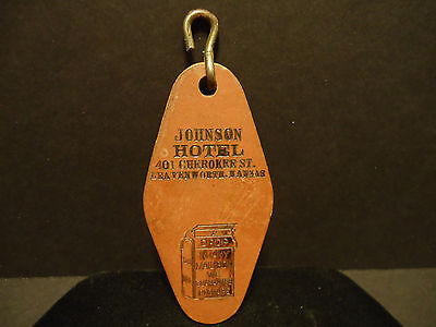 Vintage Johnson Hotel Leavenworth Kansas Hotel Room Key Fob Tag