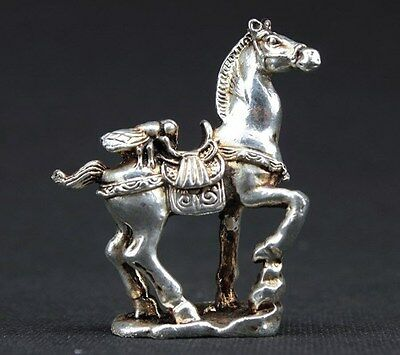 """Old Handwork Miao Silver Carving Horse Wonderful Statue """"马上赢"""""""