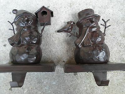 Lot of 2 ***Rustic Country Metal Christmas Snowman Stocking Hanger Holder***
