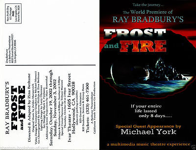 Ray Bradbury FROST AND FIRE theatre card. scarce. mint.