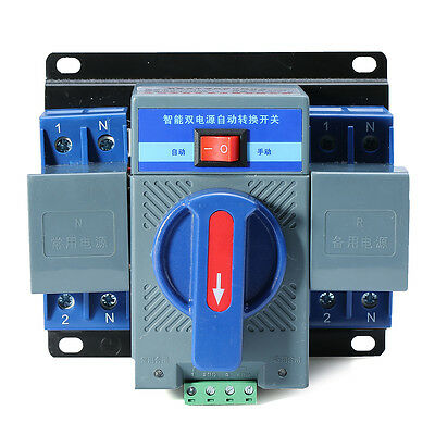 1PCS 63A 2P 50HZ/60HZ Dual Power Automatic Transfer Switch 150×137×118mm+Manual