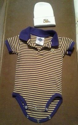 LSU tigers baby onsie  with hat size 0-3 month's