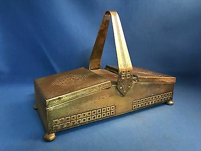 Silverplate WMF Wood Lined Cigarette Box with wrap handle ART DECO