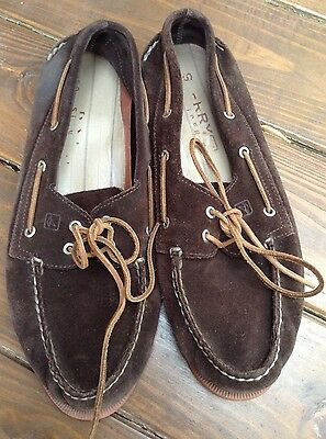 Sperry Top Sider Men's Brown Suede Leather Loafers Moccasins Boat Shoes Size 14M