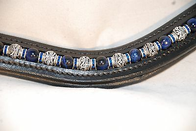"16"" (Full/Horse) Black U-Shape Browband w/ Blue Tiger's Eye & Metal Beads"