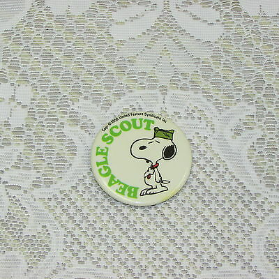 Snoopy Beagle Scout Vintage Pinback Button 1958 Peanuts United Feature Syndicate