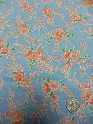 Vintage FEEDSACK FABRIC 35x45 Blue w CORAL FLOWERS quilt doll cloth Cotton z7