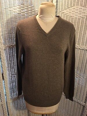 NWT TAHARI Pure Luxe Men 100% Cashmere Beige Charcoal V-Neck Sweater Sz M