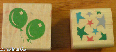 Birthday Rubber Stamp lot of 2 Wood Mount Balloons Stars Celebration