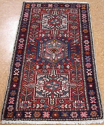2 x 4 Persian KARAJEH Tribal Hand Knotted Wool RED NAVY Oriental Rug RUNNER