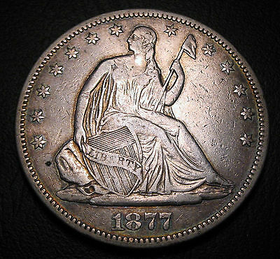 Old Us Coins 1877 S  Silver Seated Liberty Half Dollar Beauty Fifty Cents