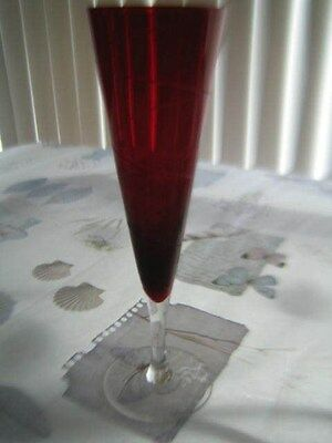 Blood Red Crystal Glass Blown/Cut Champagne Toasting Flute Glass  Original 8 oz