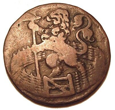 Old Coins Rare 1754 Scarce Copper Stunning Colonial Duit Nice