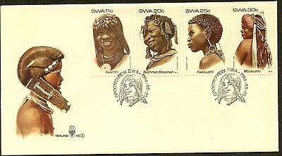 SOUTH WEST AFRICA Sc#524-527 1984 Headdress Complete Set on Cacheted FDC
