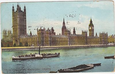 Houses of Parliment, Westminster, London. Boats. Circa 1910 Postcard